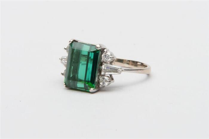 18K White Gold, Tourmaline/Diamond Ring