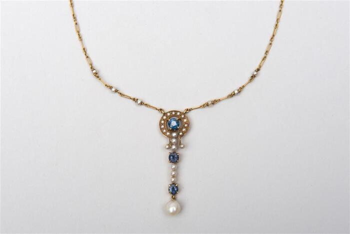14K Yellow Gold, Pearl/Sapphire Necklace