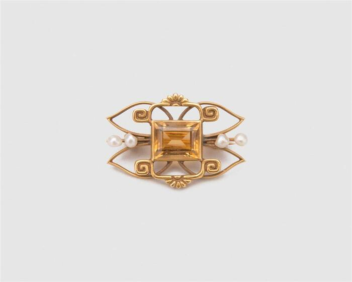 14K Yellow Gold Citrine and Pearl Brooch