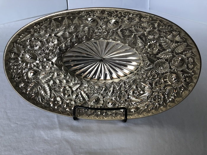 oval repousse footed dish