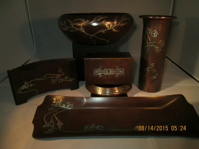 6 pieces of bronze tableware with sterling overlay