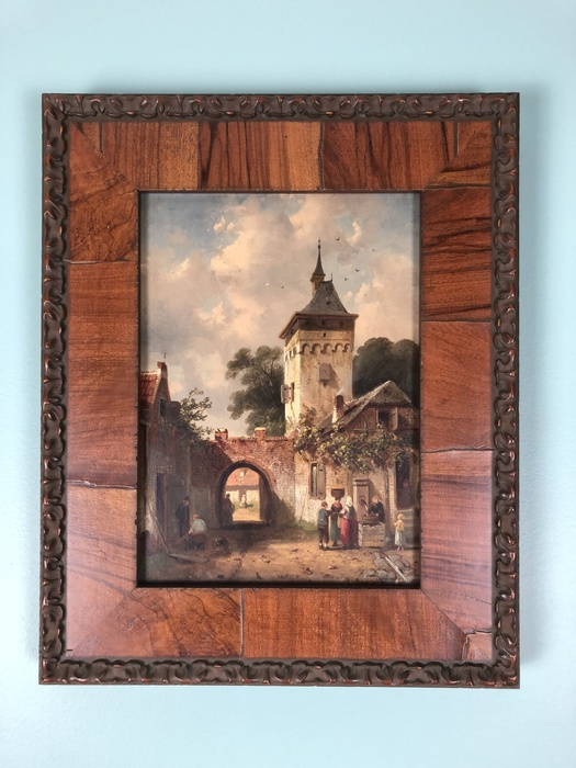 oil painting of guard tower and village people