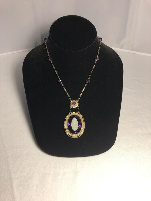 14K Gold Amethyst, Enamel, and Seed Pearl Pendant Necklace