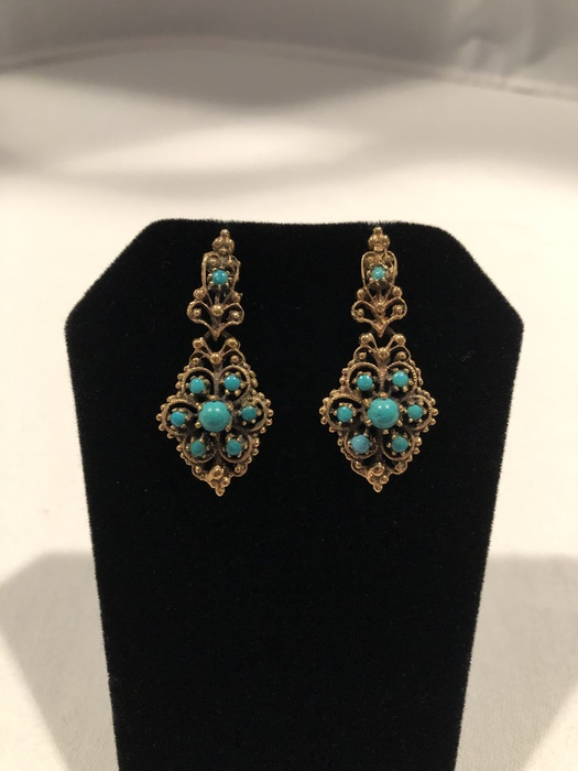 14K Yellow Gold and Turquoise Earrings