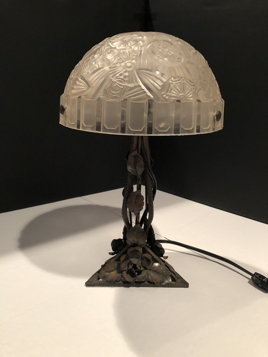 glass and iron table lamp