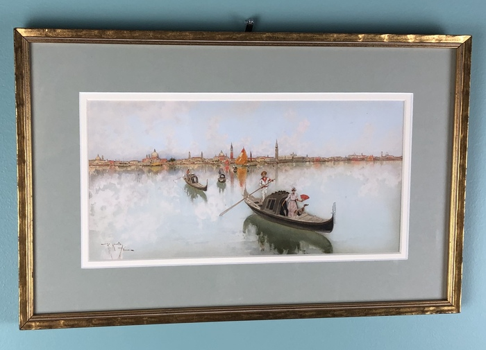 venetian watercolor with gondola in foreground