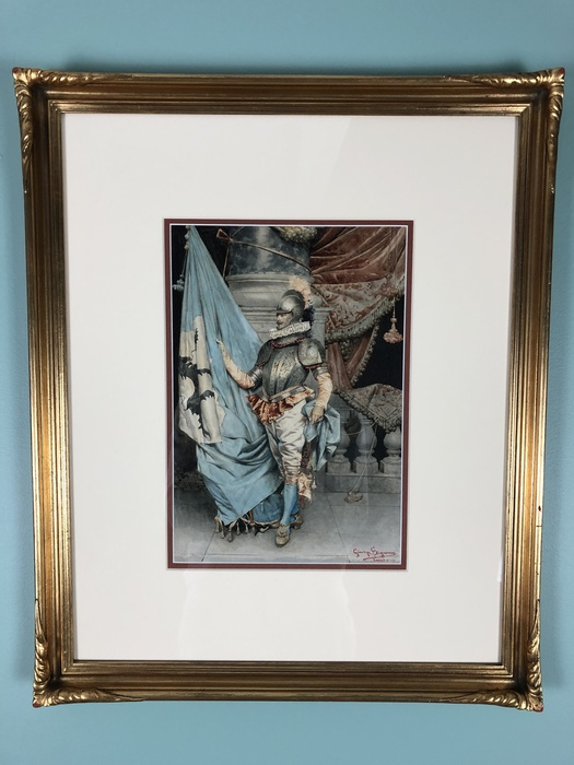 watercolor of 15th c soldier in armor