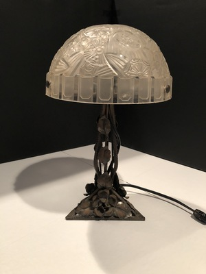 additional images for Blown Glass and Wrought Iron Table Lamp