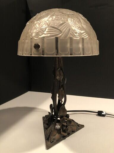 Blown Glass and Wrought Iron Table Lamp