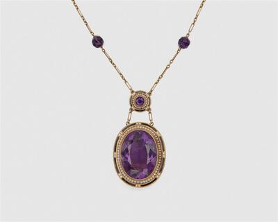 additional images for 14K Gold Amethyst, Enamel, and Seed Pearl Pendant Necklace